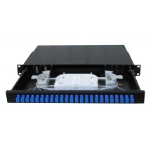 "19"" Fiber Optic Patch Panel / Distribution Box [slide out tray]- 1U 24 Port Duplex"