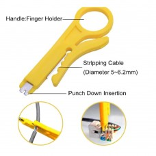 Premium Yellow RJ45 Network Cable / Telephone Cable Stripper & Insert Tool [VTB]