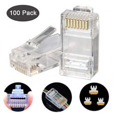 HTI EZ PASS THROUGH DESIGN MODULAR PLUG / CRYSTAL HEAD CAT 5E (100 Pcs)